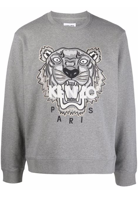Felpa girocollo in cotone grigio con Tiger Head ricamata KENZO | Felpe | FB6-5SW123-4XA95