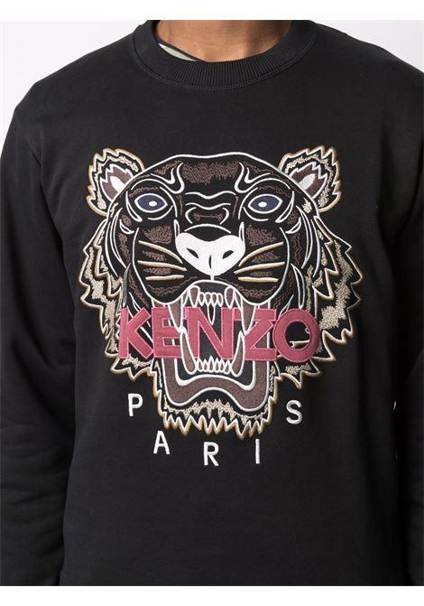 Felpa girocollo in cotone nera con Tiger Head ricamata KENZO | Felpe | FB6-5SW123-4XA99