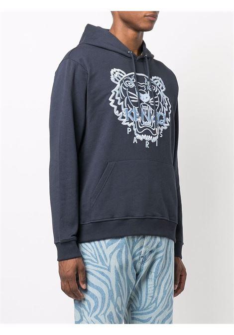 Felpa con cappuccio in cotone nero e blu con Tiger Head ricamata KENZO | Felpe | FB6-5SW334-4XF79