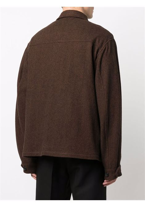 Giacca/camicia marrone in lana e flanella con logo Kenzo ricamato KENZO | Camicie | FB6-5VE213-1RB90