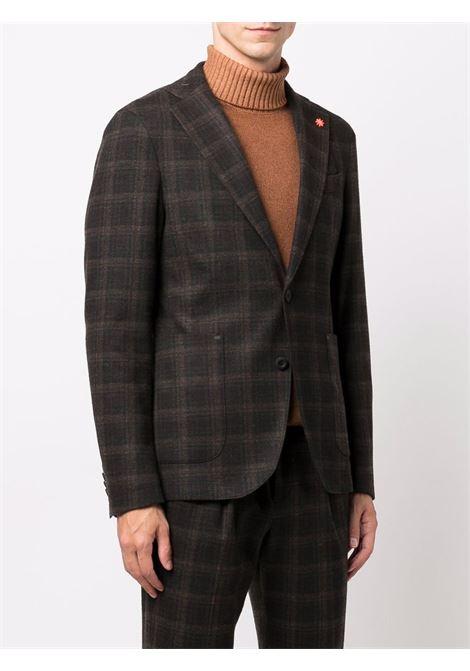 Dark brown single-breasted checked blazer  MANUEL RITZ |  | 3132G5002-21368830