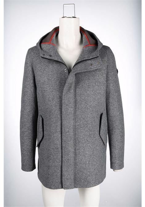 Cappotto grigio in lana vergine con logo Manuel Ritz MANUEL RITZ | Cappotti | 3132H8317-21374397