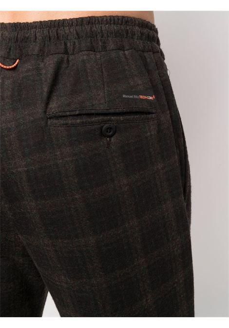 Pantaloni marrone scuro slim fit a quadri con motivo check MANUEL RITZ | Pantaloni | 3132P5005-21368830