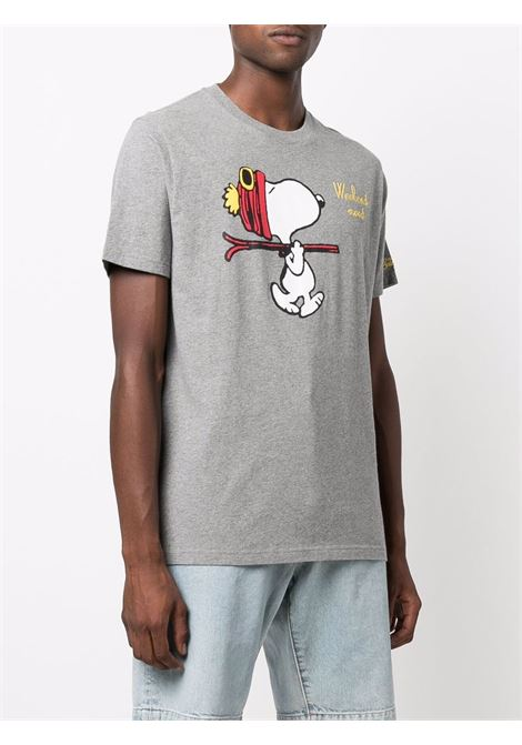 T-shirt grigia in cotone con stampa Snoopy con ricamo Weekend Mood MC2 | T-shirt | ARNOTT-EMB SNOOPY SKI15M