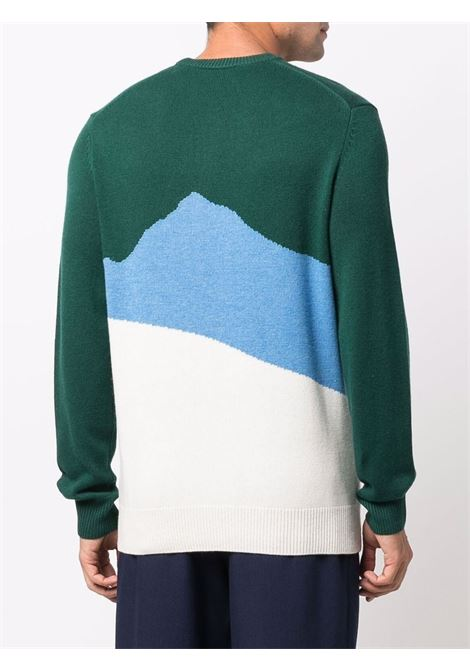 Green wool and cashmere jumper featuring intarsia knit MC2 |  | HERON C-ASPEN51