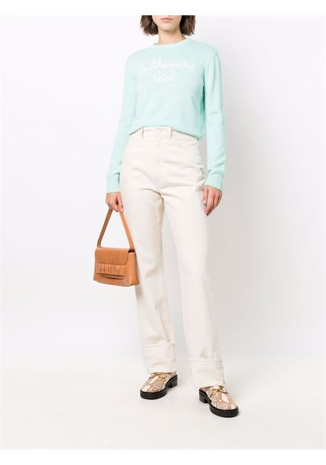 maglione in lana verde con scritta bianca Problematic Girl MC2 | Maglieria | NEW QUEEN CROP-EMB PROBLEMATIC56