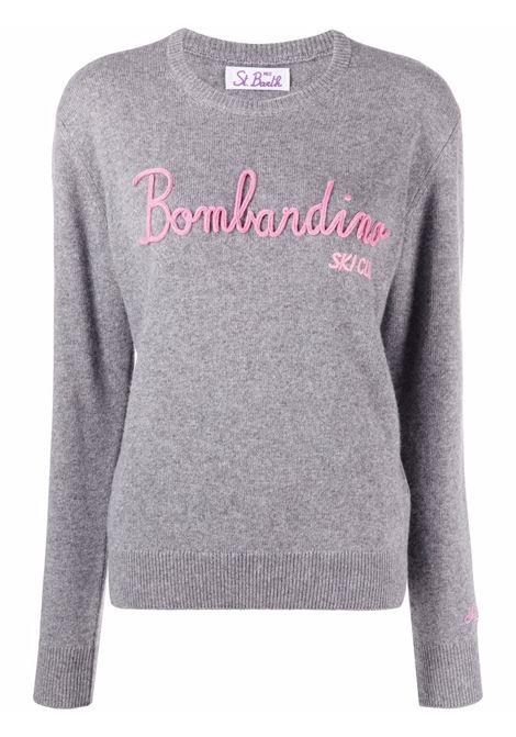 maglione grigio in lana Bombardino con scritta rosa ricamata MC2 | Maglieria | NEW QUEEN-EMB SKI CLUB15M21