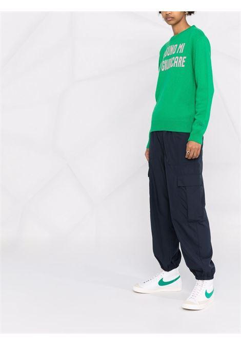 maglione verde Nessuno mi Può Giudicare con slogan ricamato rosa MC2 | Maglieria | NEW QUEEN-GIUDICARE5721