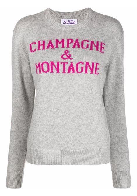 Maglione grigio in lana Champagne & Montagne con slogan fuxia MC2 | Maglieria | NEW QUEEN-MONCHAMP15ML25