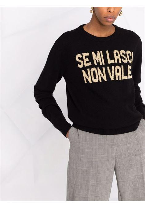 black wool sweater with gold Se mi lasci non vale print   MC2      NEW QUEEN-NON VALE00OR