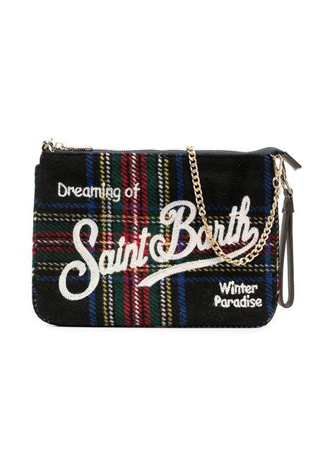 Black tartan check pouch bag featuring white MC2 embroidered logo MC2      PARISIENNE W-TRTN61