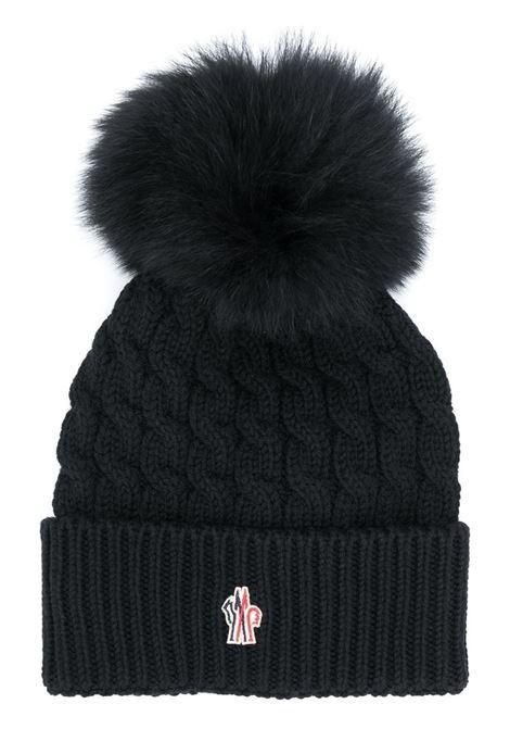 Berretto nero in lana vergine con pompon MONCLER GRENOBLE | Cappelli | 3B700-01-0402A999