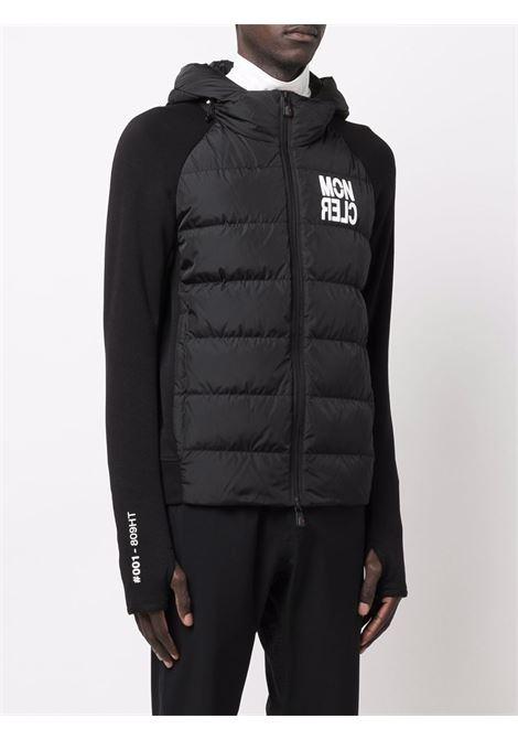 Piumino con cappuccio nero in piuma d'oca con logo Moncler bianco MONCLER GRENOBLE | Cardigan | 8G000-07-809HT999