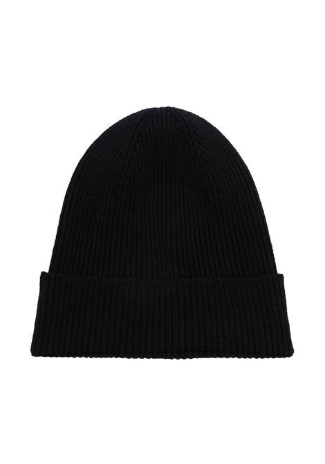 Berretto nero in maglia di lana vergine a coste con logo Moncler MONCLER | Cappelli | 3B705-00-A9342999