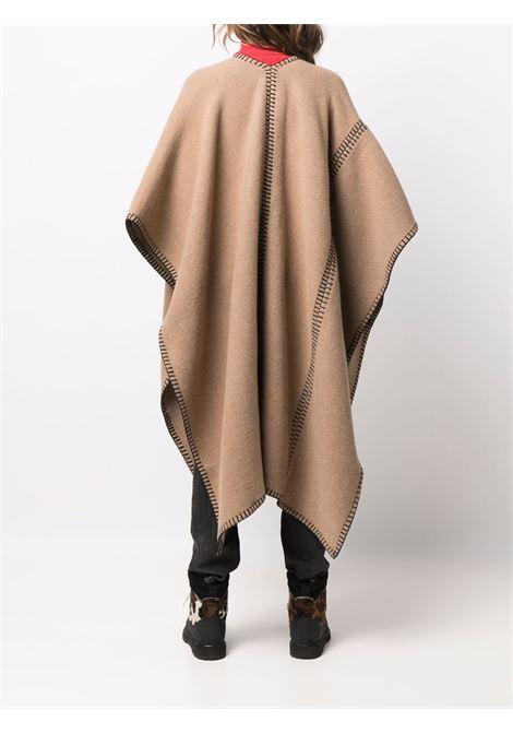 Camel brown wool poncho featuring black Moncler logo print MONCLER |  | 3G000-03-0P58S210