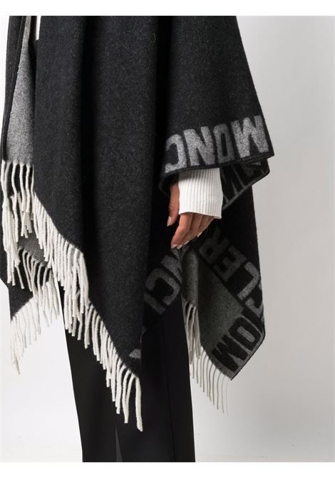 Black and white wool fringed poncho  MONCLER |  | 3G000-12-0P58Z999