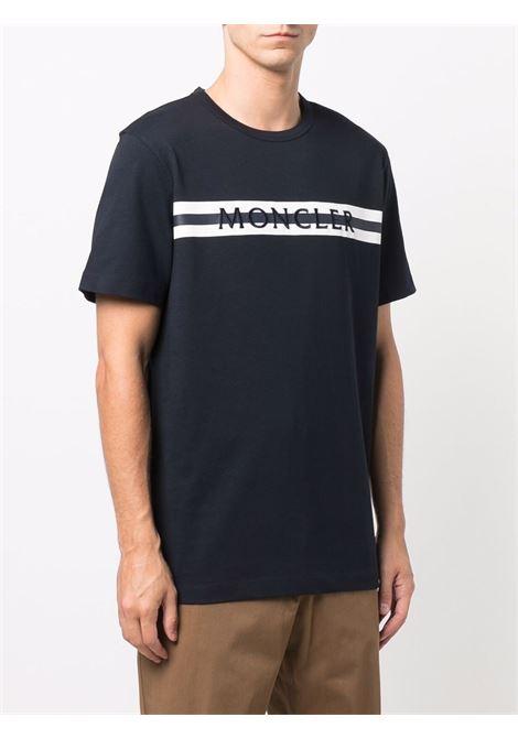 T-shirt blu navy con logo Moncler ricamato MONCLER   T-shirt   8C000-01-8390T778