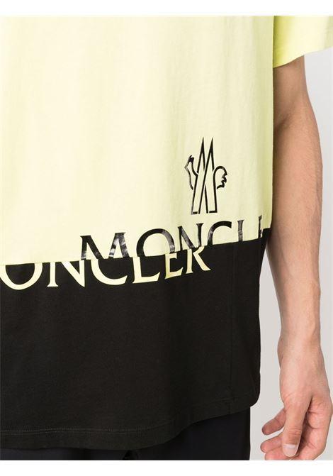 T-shirt gialla e nera in cotone con stampa logo Moncler MONCLER   T-shirt   8C000-18-829H8112