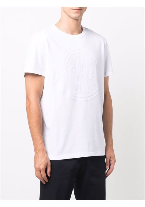 T-shirt bianca in cotone con logo Moncler in rilievo MONCLER   T-shirt   8C000-54-8390T001