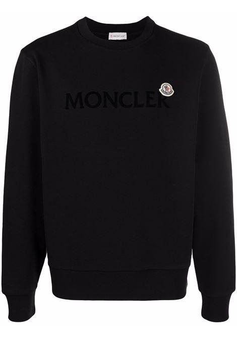 Felpa nera in cotone a maniche lunghe logo Moncler MONCLER | Felpe | 8G000-23-809KR999