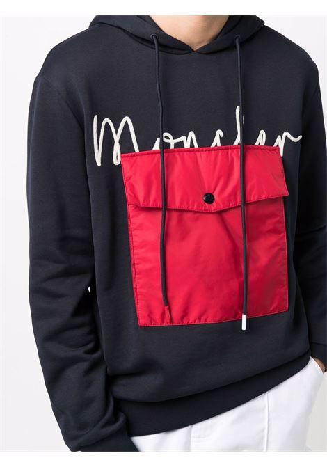 Felpa blu scuro e rossa in cotone e lana con cappuccio e logo Moncler MONCLER | Felpe | 8G000-56-899FL778