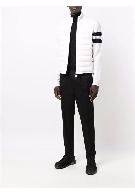 Cardigan bianco in lana vergine con imbottitura in piuma MONCLER | Cardigan | 9B000-02-M1131030