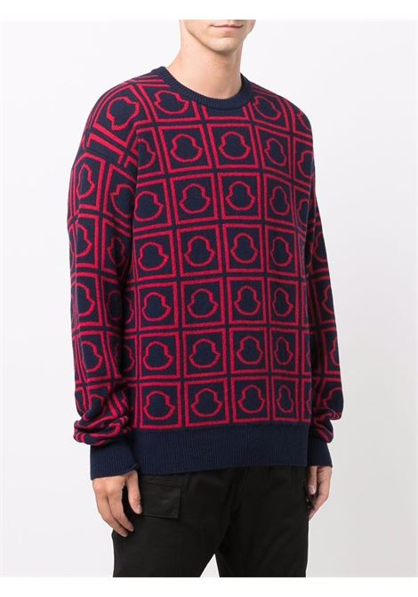 Blue and red wool all-over Moncler monogram logo jumper  MONCLER      9C000-16-M1242755