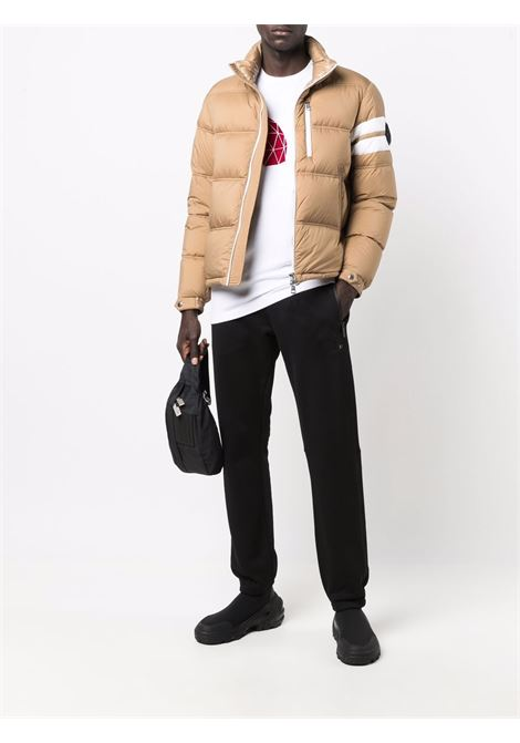 Camel brown puffer jacket featuring Moncler logo patch  MONCLER      DELAUME 1A000-05-5333324F