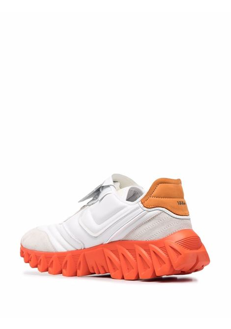 White and orange leather,fabric and rubber low-top sneakers  PANTOFOLA D'ORO |  | BLT3AU-BALL TONGUE0248