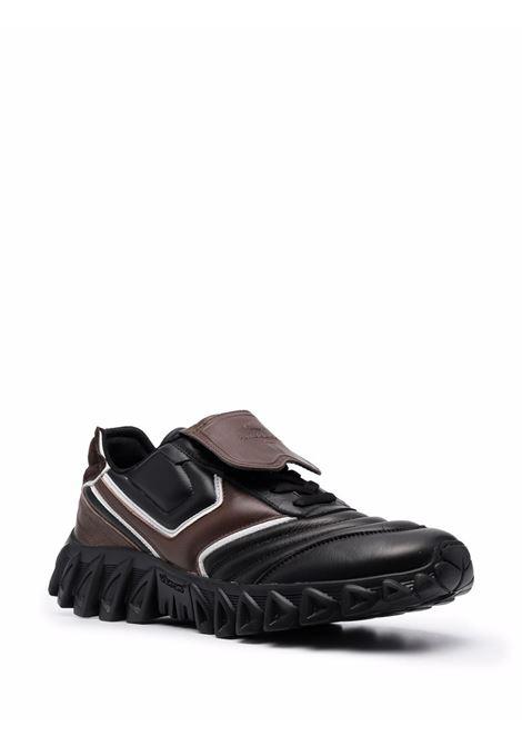 Sneaker basse nere e marroni in pelle e camoscio con suola rigata PANTOFOLA D'ORO | Sneakers | BLT5KU-BALL TONGUE01W53