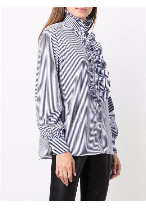 Camicia a righe in cotone blu e bianco con volant P.A.R.O.S.H. | Camicie | D381049-CRIGA883