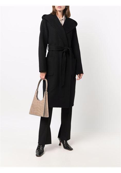 cappotto nero in lana con allacciatura in vita P.A.R.O.S.H. | Cappotti | D430773-LEAK013