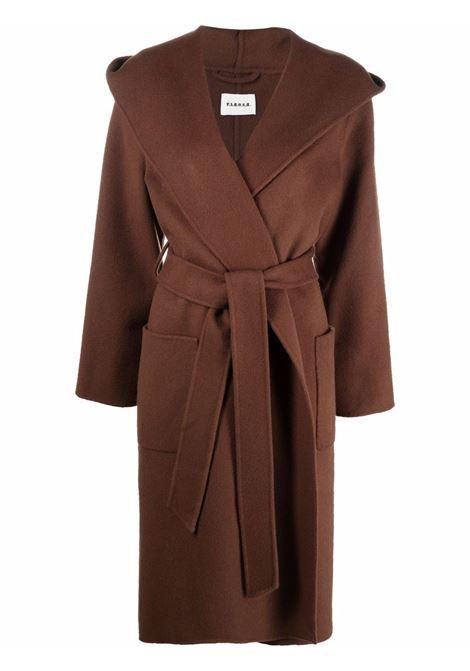 Cappotto in lana marrone di media lunghezza con cintura P.A.R.O.S.H. | Cappotti | D430773-LEAK029