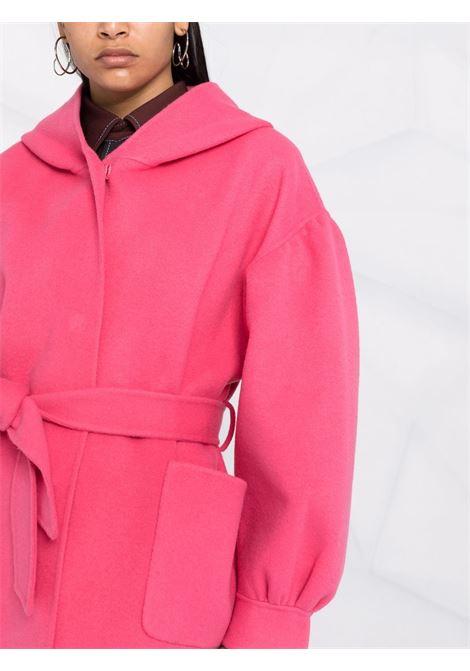 Cappotto in lana rosa bubblegum con vita annodata e cappuccio P.A.R.O.S.H. | Cappotti | D430893-LEAK025
