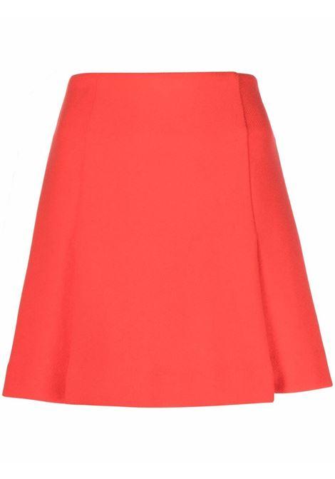 Gonna rossa in lana vergine con piega invertita P.A.R.O.S.H. | Gonne | D630380-LAYE048