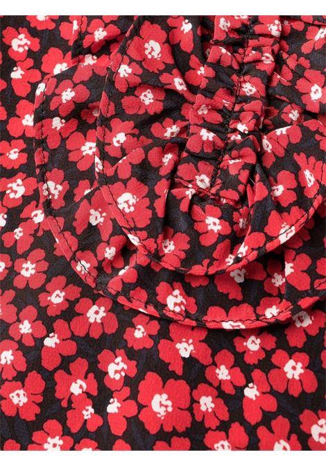 Abito midi in seta rossa con volant e stampa floreale P.A.R.O.S.H.   Abiti   D724216-SFLOWER809