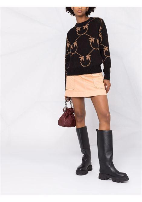 Maglione in lana di alpaca nera con monogramma Pinko marrone PINKO | Maglieria | 1G16C3-Y7GYZC0