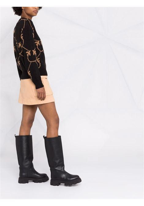 Black alpaca wool jumper featuring brown Pinko monogram intarsia knit PINKO |  | 1G16C3-Y7GYZC0