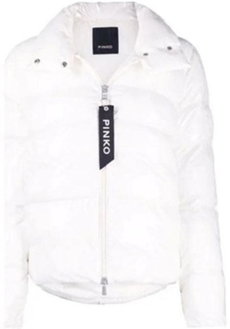 Piumino imbottito bianco Rockaway con chiusura a zip con logo Pinko PINKO | Piumini | 1G16CZ-Y767Z14