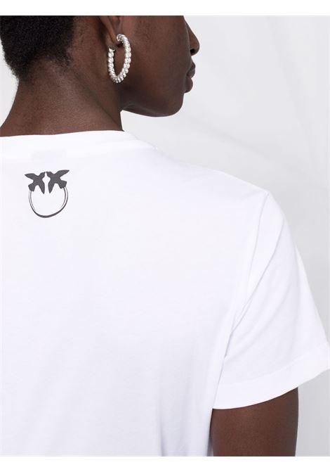 White cotton T-shirt featuring Pinko logo print PINKO |  | 1G16J4-Y74WZ04
