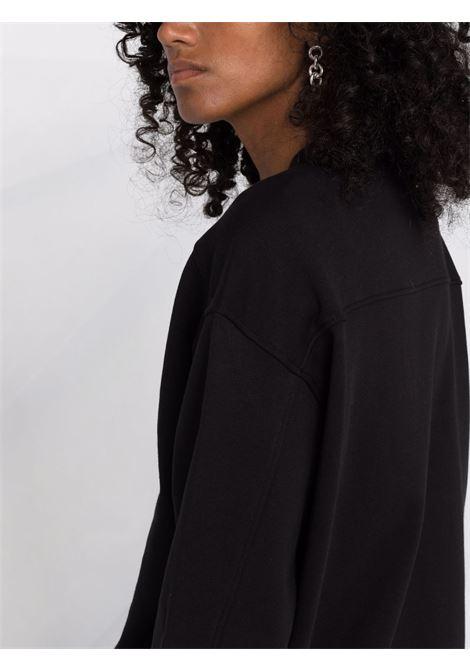 Felpa nera in cotone con decorazione di cristalli di vetro PINKO | Felpe | 1G16J9-Y722Z99