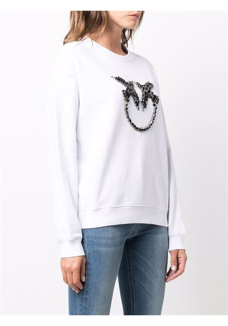 Felpa Love Birds in cotone bianco girocollo PINKO | Felpe | 1G16J9-Y722ZZ1