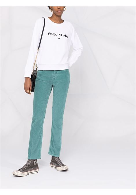 Felpa bianca in cotone con stampa Pinko Ti Amo nera girocollo PINKO | Felpe | 1G16JE-Y6GEZ09