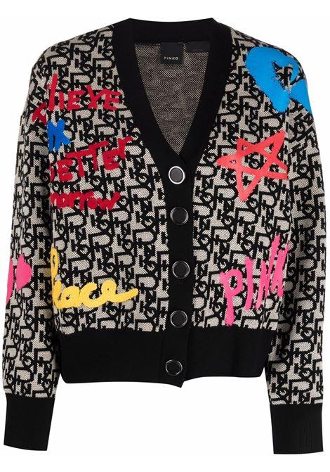 cardigan multicolore con scollo a V e monogram Pinko PINKO | Cardigan | 1G16NY-Y7H3ZZ4
