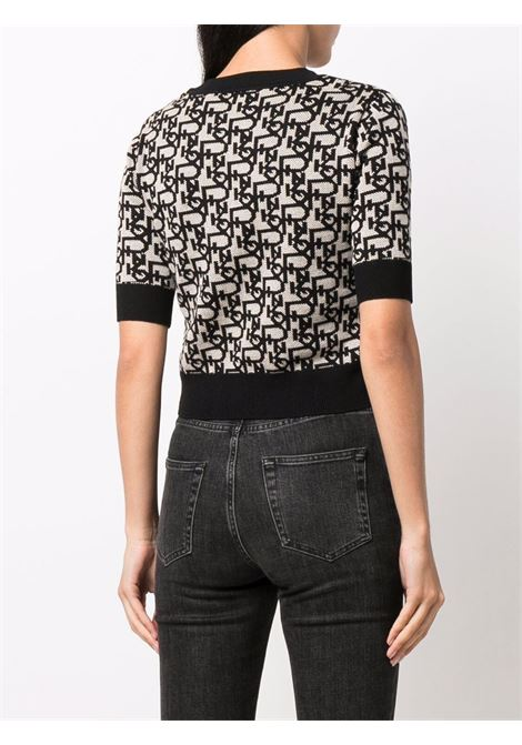 Top in maglia a intarsio nero e grigio chiaro con logo Pinko fucsia PINKO | Maglieria | 1G16NZ-Y7H3ZZ4