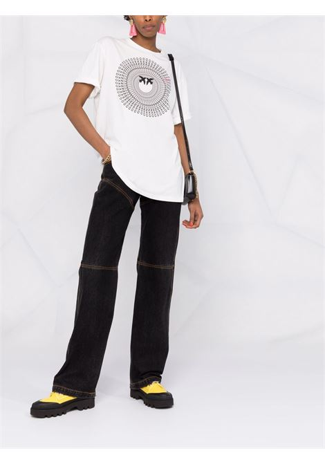 T-shirt bianca in cotone con stampa logo Pinko nero PINKO | T-shirt | 1G16VZ-Y6K7Z05