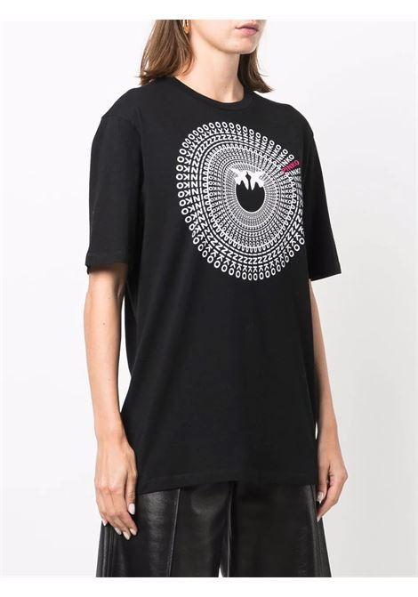 T-shirt nera in cotone con stampa logo Pinko bianca PINKO | T-shirt | 1G16VZ-Y6K7Z99
