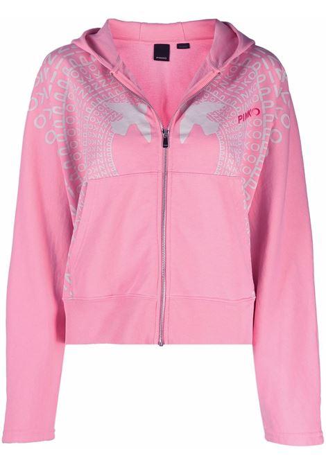 Felpa rosa con cappuccio in cotone con stampa logo Pinko argentata PINKO | Giubbini | 1G16W1-Y7JQP25