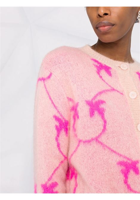 Pink mohair wool cardigan featuring fuxia Pinko monogram intarsia-knit PINKO |  | 1G16WR-Y7G4NN0