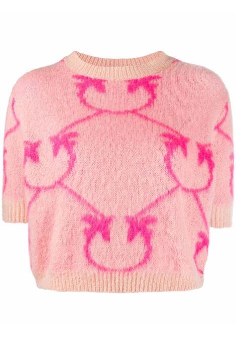 t-shirt in lana mohair rosa con logo Pinko fucsia PINKO | Maglieria | 1G16WS-YG74NN0